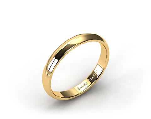 14k Yellow Gold 4mm Slightly Domed Comfort Fit Wedding Ring